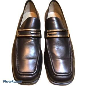 Gucci Brown/Gold Leather Loafers
